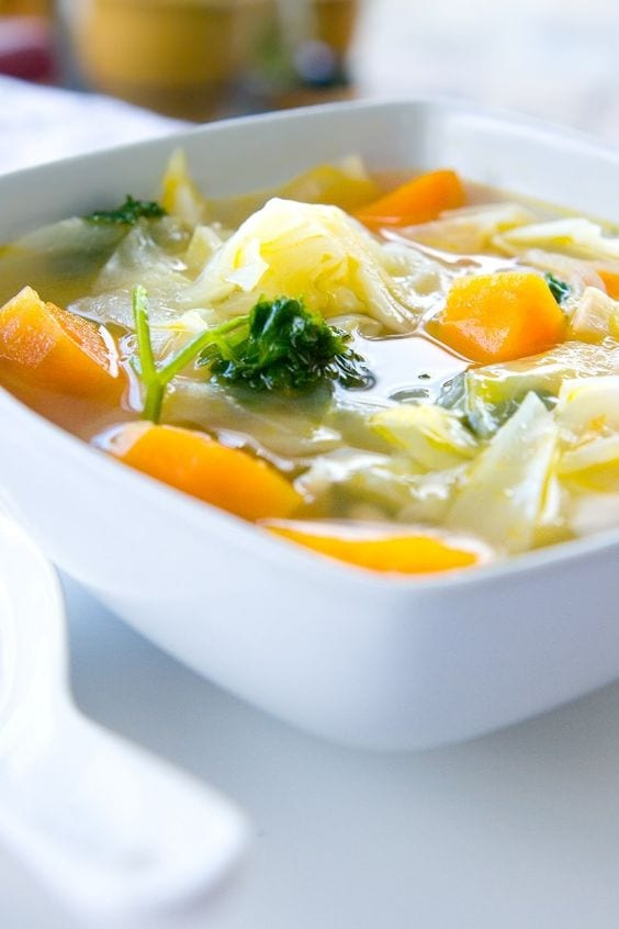 Weight Watchers Healthy Vegetable Soup in a bowl