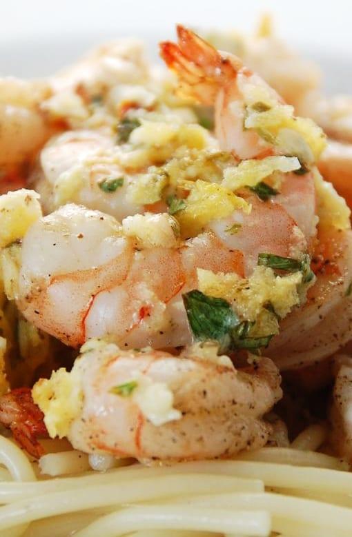 Closeup of Shrimp Scampi