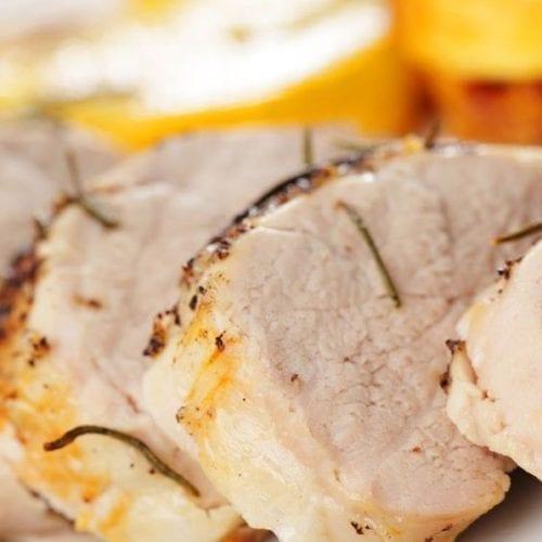 Sliced pork on a plate