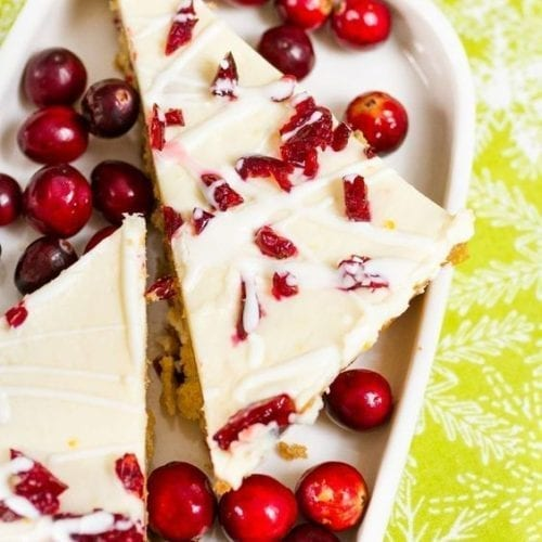 Cranberry bliss bars in a plate