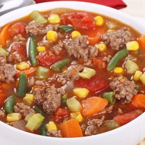 Hamburger vegetable soup in a bowl
