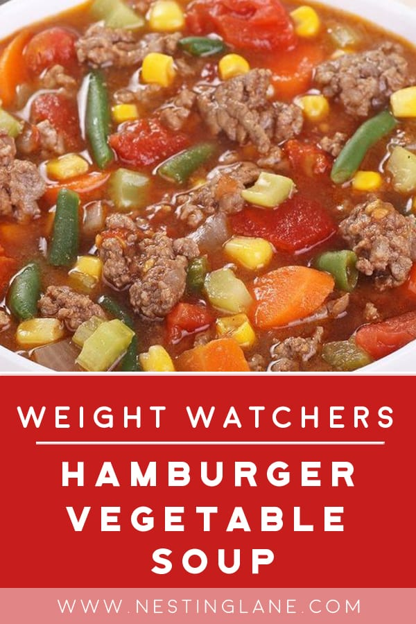 Weight Watchers Hamburger Vegetable Soup in a bowl