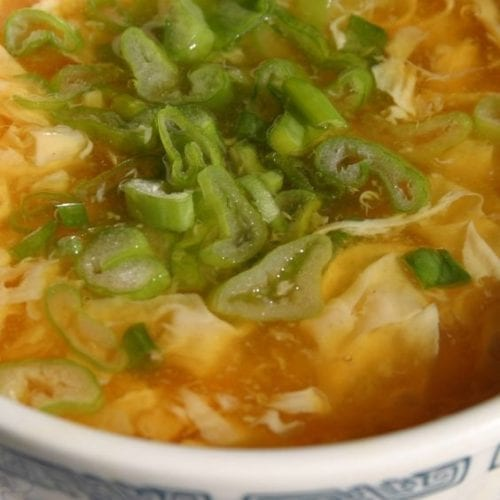 Weight Watchers Chicken Egg Drop Soup in a bowl