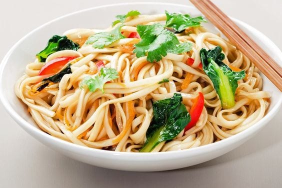 Weight Watchers Yakisoba Noodle Stir Fry in a white bowl