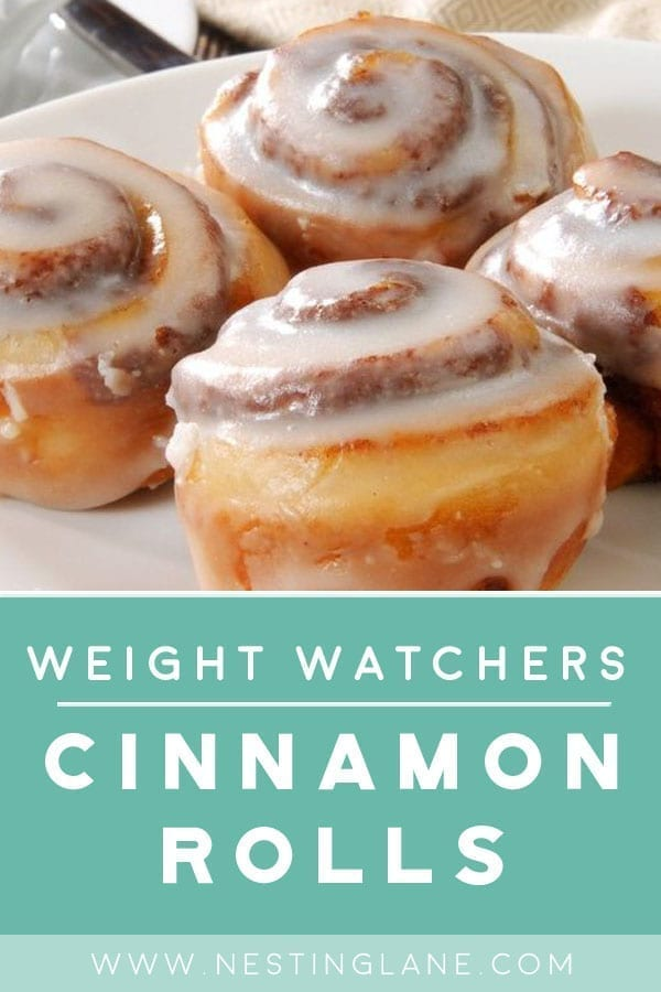 Graphic for Pinterest for Weight Watchers Cinnamon Rolls