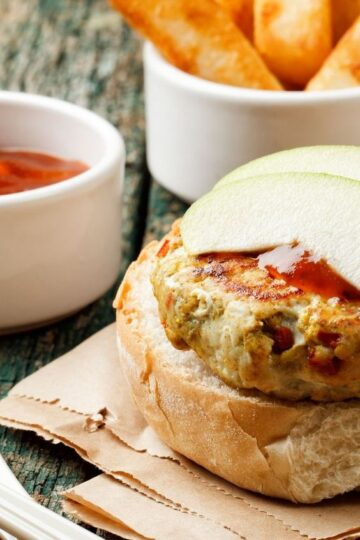 Closeup of Weight Watchers Turkey Burgers with Brie Cheese