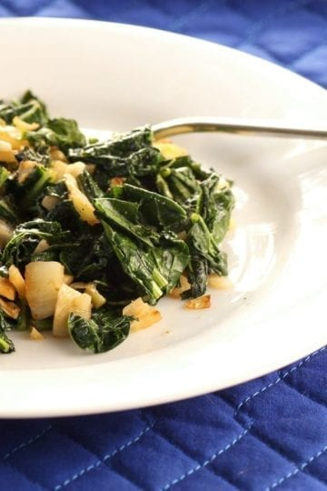 Weight Watchers Kale With Onions and Garlic
