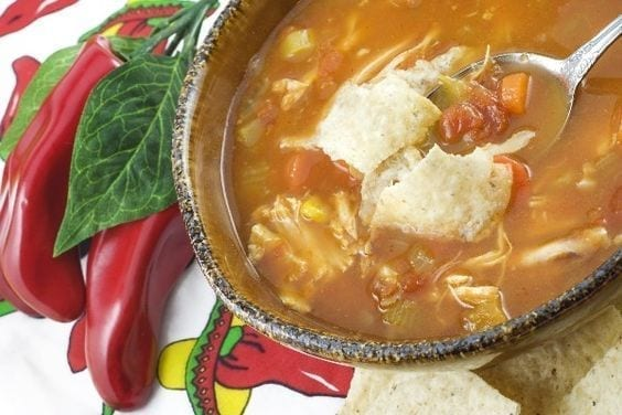 Weight Watchers Quick and Easy Tortilla Soup in a bowl with red chili peppers on the side