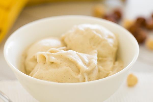 Weight Watchers Banana Ice Cream in a white bowl
