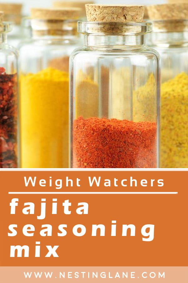 Weight Watchers Fajita Seasoning Mix Ingredients in clear glass bottles with cork tops.
