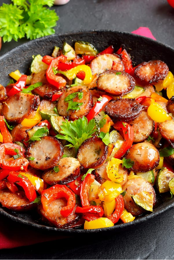 Weight Watchers Turkey Sausage with Peppers Recipe in a cast iron skillet