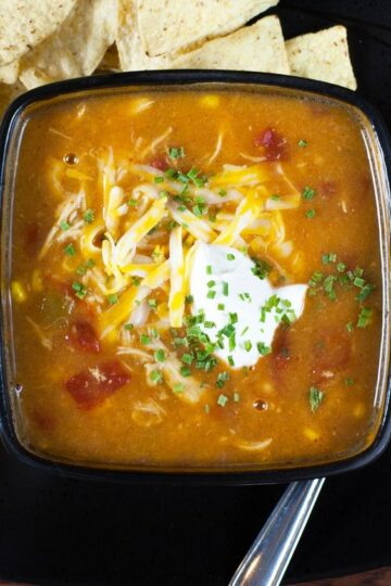 A bowl of Weight Watchers Chicken Enchilada Soup