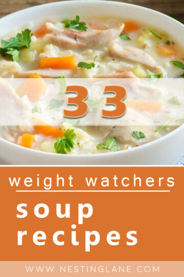 Graphic for Pinterest of 33 Weight Watchers Soup Recipes