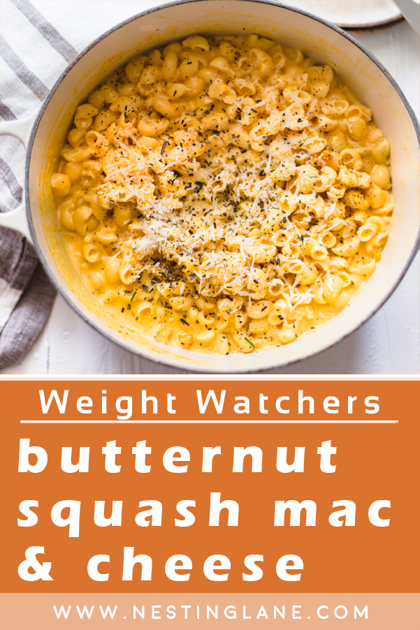 Graphic for Pinterest of Weight Watchers Butternut Squash Macaroni and Cheese Recipe