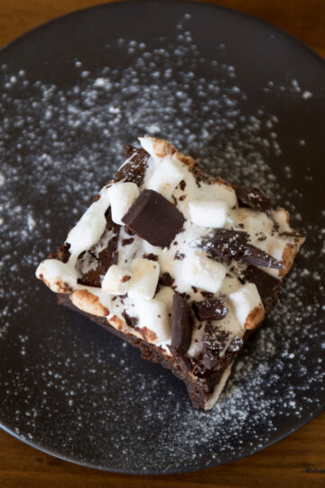 Weight Watchers Chocolate Rocky Road Bars on a black plate