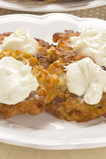 Weight Watchers Apple and Potato Latkes on a white plate