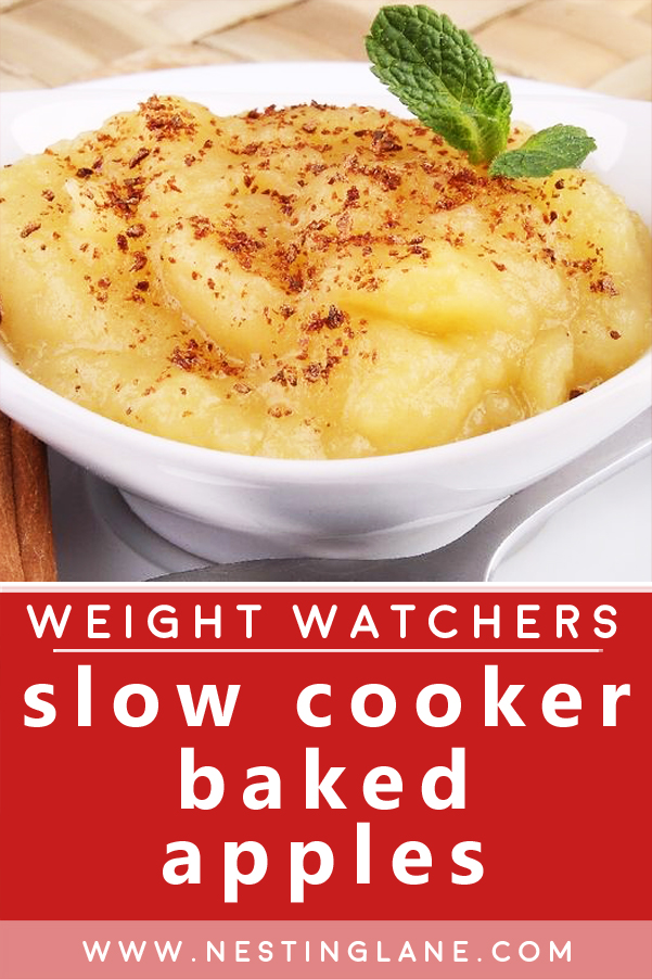 Graphic for Pinterest of Weight Watchers Slow Cooker Baked Apples Recipe